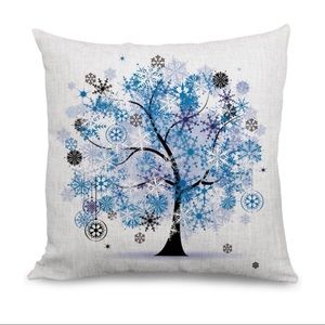 🆕 Blue Snowflake Ornament Tree Pillow Cover